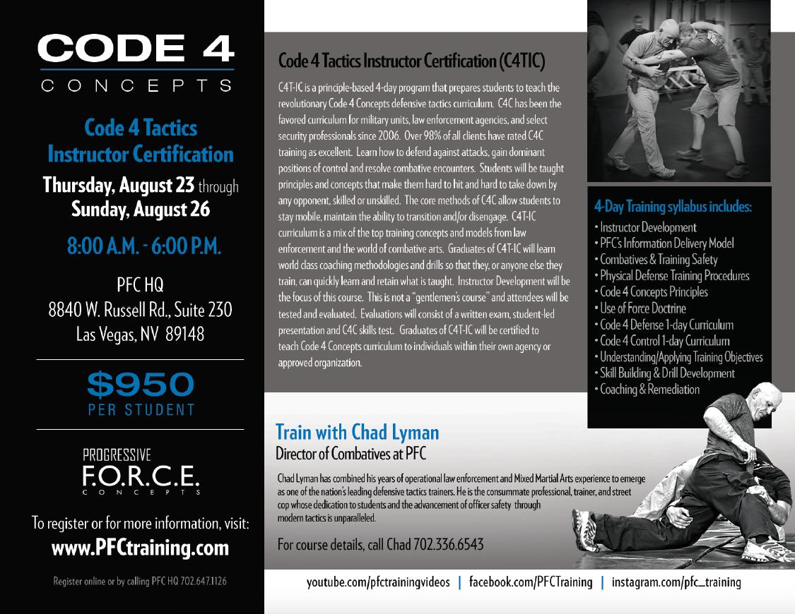 Pfc Training Code 4 Tactics Instructor Certification C4t Ic